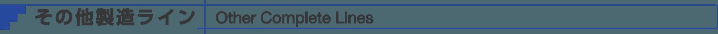 その他製造ライン Other Complete Lines